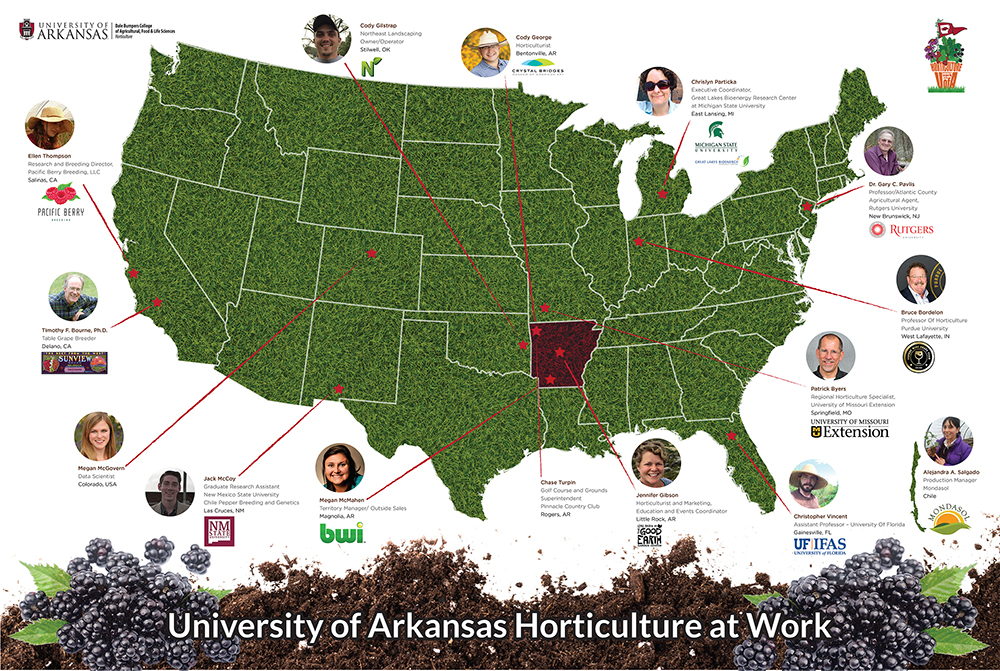 map of the united states with alumni featured
